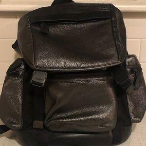 Coach Gunmetal Gray Trek Leather Backpack